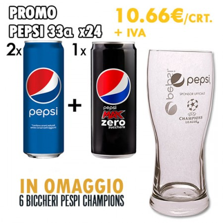 Promo 3x Pepsi Lattina 33cl x24 + Omaggio 6x Bicchieri Pepsi Champions