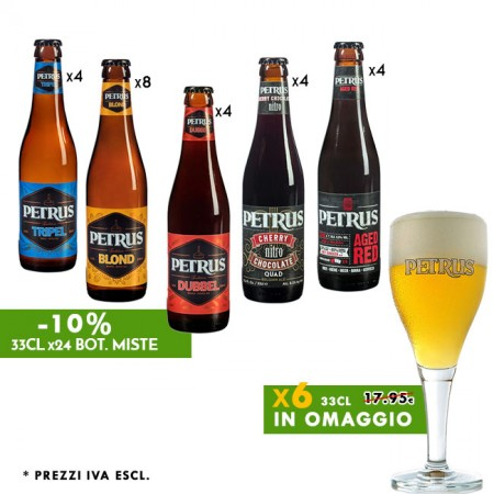 Promo -10% Petrus Mix 24 bot. + in omaggio 6 Calici 33cl