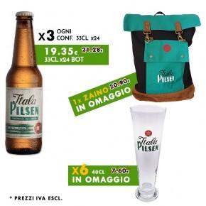 Promo 3x Conf. Birra Itala Pilsen 33cl + in omaggio Zaino e 6x Calici 40cl