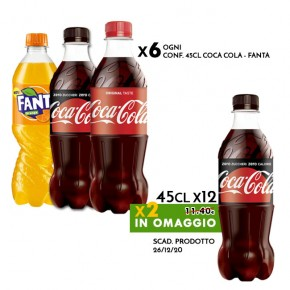 Promo 6x Conf. 45cl Coca Cola - Fanta | in omaggio 2 Coca Cola Zero 45cl