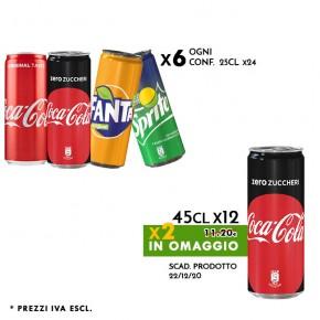 Promo 6x Conf. Lattine 25cl Coca Cola - Fanta - Sprite | in omaggio 2 Coca Cola Zero 25cl