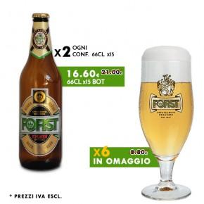 Promo 2 Conf. Forst Kronen 66cl + in omaggio 6 calici 40cl