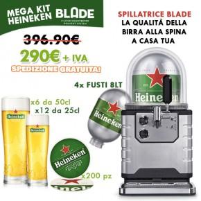 Mega Kit Heineken Blade: Spillatrice Blade + Kit Heineken Blade + 4x Fusti Heineken 8Lt