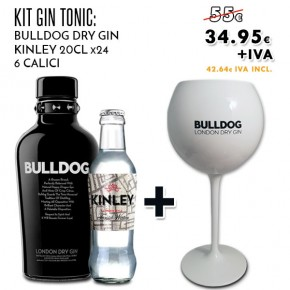 Promo Gin Tonic Kit: Gin Bulldog + Kinley Tonic + in omaggio Calici Bulldog