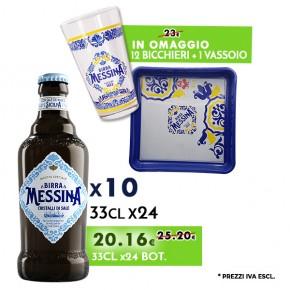 Promo 10 Confezioni Messina Cristalli di Sale 33cl x24 - Bicchieri e Vassoio Messina in omaggio