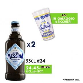 Promo 2 Confezioni Messina Cristalli di Sale 33cl x24 - Bicchieri Messina in Omaggio