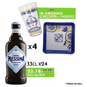 Promo 4 Confezioni Messina Cristalli di Sale 33cl x24 - Bicchieri e Vassoio Messina in omaggio